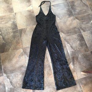 Vintage Velour Black + Gold Jumpsuit M